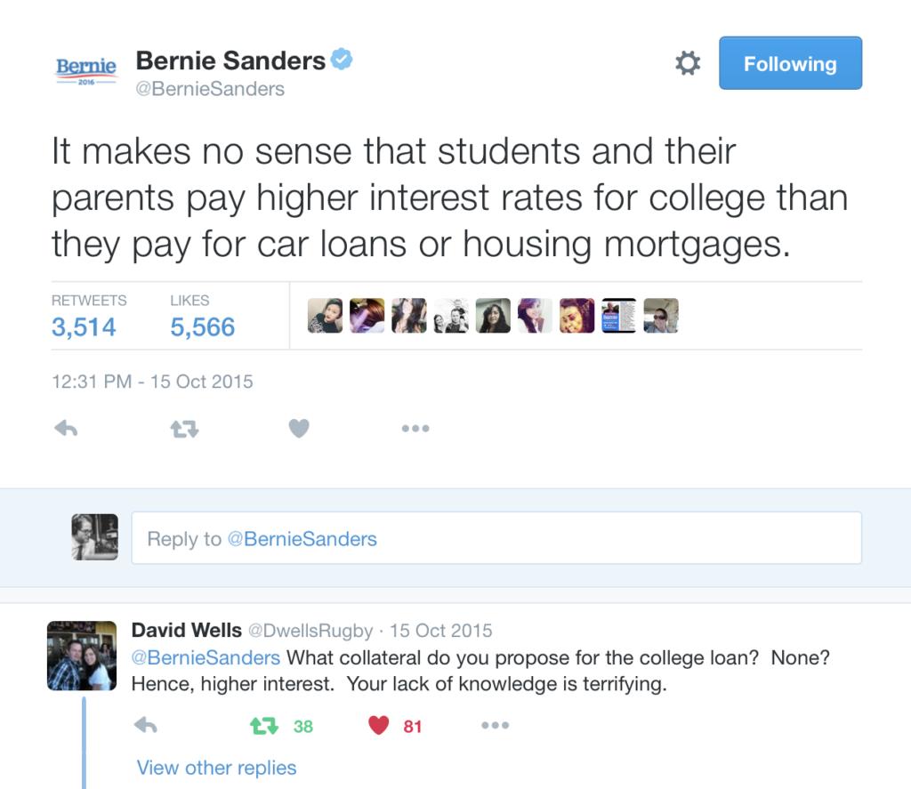 Bernie Sanders Economics Tweet